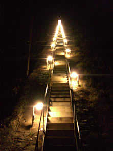 Jacobs's Ladder lit up at night